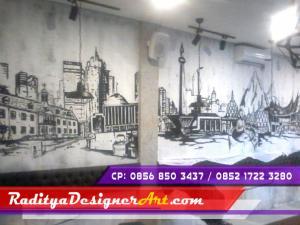 Lukisan dinding mural art pengecatan lapangan for Mural hitam putih
